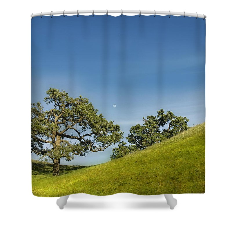 Landscape Shower Curtain featuring the photograph Moon Rising by Karen W Meyer