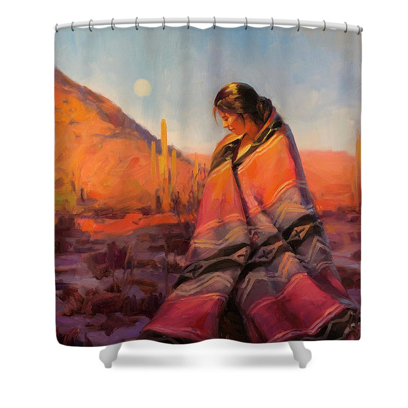 Southwest Shower Curtain featuring the painting Moon Rising by Steve Henderson