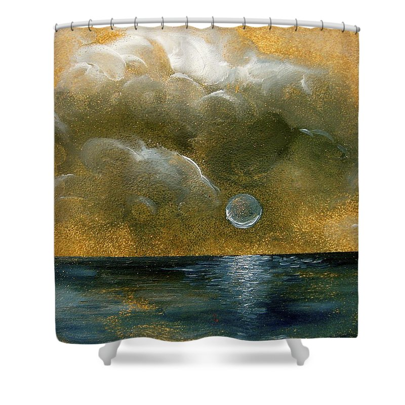 Moon Shower Curtain featuring the painting Moon Scape by Karen Doyle