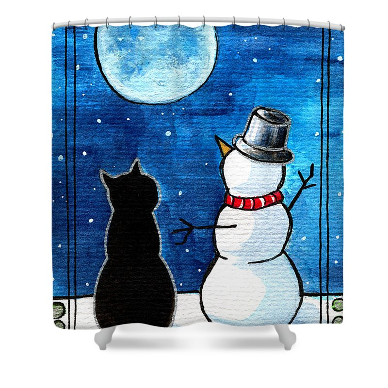Moon Watching With Snowman Shower Curtain featuring the painting Moon Watching With Snowman - Christmas Cat by Dora Hathazi Mendes
