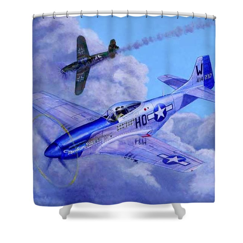 Capt Bill Wisner Shoots Down Two Bf-109s On November 2nd 1944 Shower Curtain featuring the painting Moonbeam Mcswine by Scott Robertson