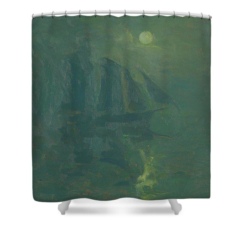 Armin Hansen Shower Curtain featuring the painting Moonlight by Armin Hansen