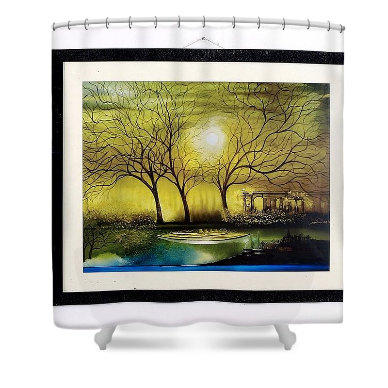 Shower Curtain featuring the painting Moonlight At Masinagudi by Paris Mohan Kumar