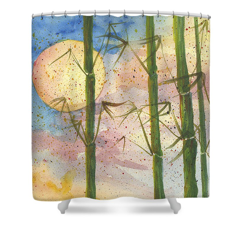 Darice Shower Curtain featuring the painting Moonlight Bamboo 2 by Darice Machel McGuire