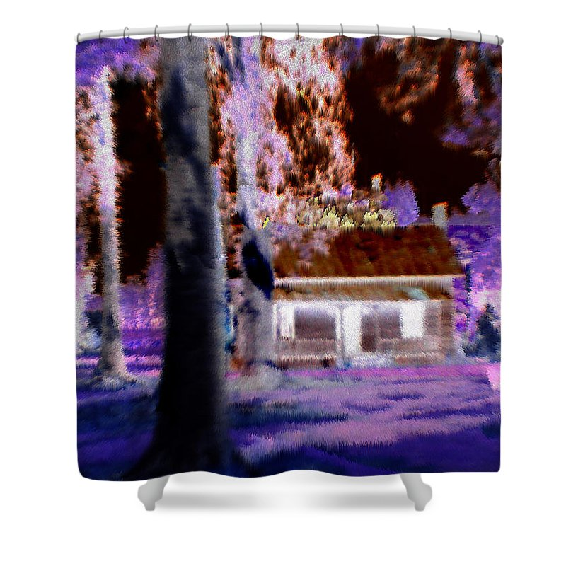 Cabin Shower Curtain featuring the digital art Moonlight Cabin by Seth Weaver