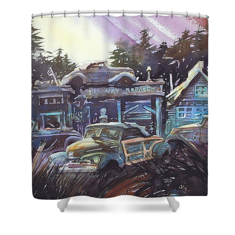 Ford Convertibles Shower Curtain featuring the painting Moonlight Cabriolets by Ron Morrison