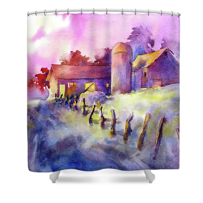 Watercolor Shower Curtain featuring the painting Moonlight Farm by Virgil Carter