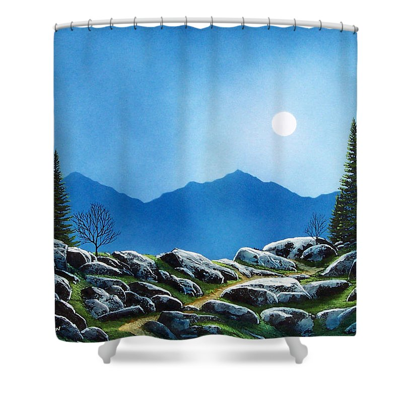Landscape Shower Curtain featuring the painting Moonlight Hike by Frank Wilson
