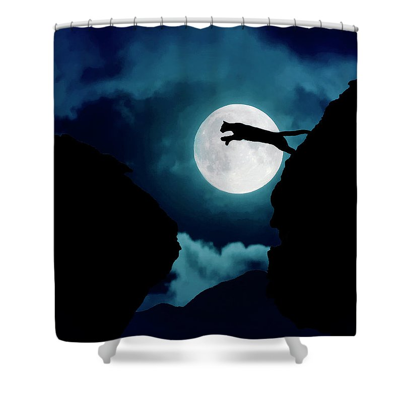 Mountain Lion Shower Curtain featuring the photograph Moonlight Leap by Roy Nierdieck