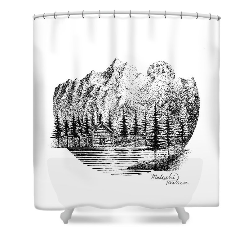 Lake Shower Curtain featuring the drawing Moonlight by Malachi Paulsen