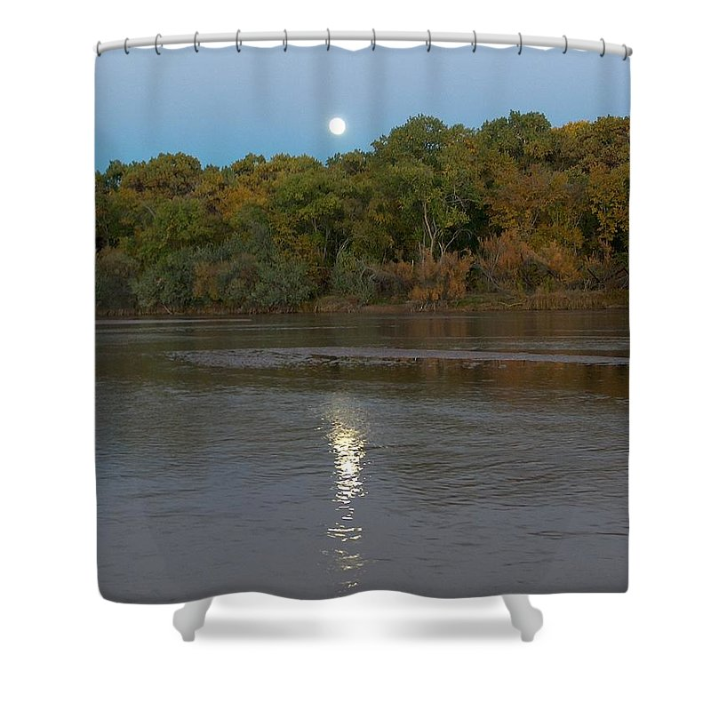 Moonlight Shower Curtain featuring the photograph Moonlight On The Rio Grande by Tim McCarthy