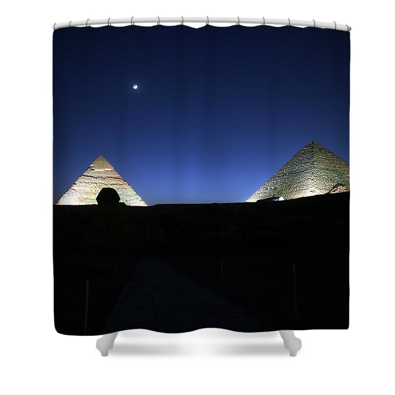 Moonlight Shower Curtain featuring the photograph Moonlight Over 3 Pyramids by Donna Corless