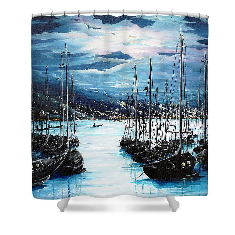 Ocean Painting  Caribbean Seascape Painting Moonlight Painting Yachts Painting Marina Moonlight Port Of Spain Trinidad And Tobago Painting Greeting Card Painting Shower Curtain featuring the painting Moonlight Over Port Of Spain by Karin Dawn Kelshall- Best