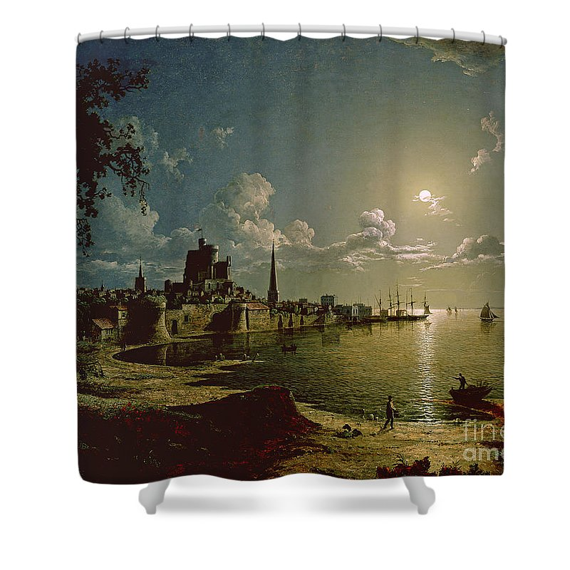 Moonlight Shower Curtain featuring the painting Moonlight Scene by Sebastian Pether