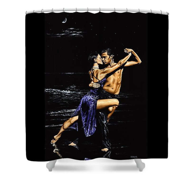 Moonlight Shower Curtain featuring the painting Moonlight Tango by Richard Young