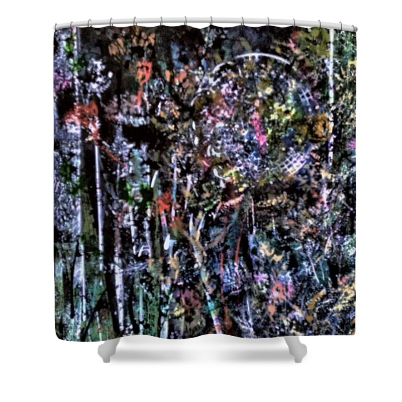 Abstract - Forest - Moon - Midnight - Trees - Foliage - Woods - Shower Curtain featuring the painting Moonlit by Barbara March