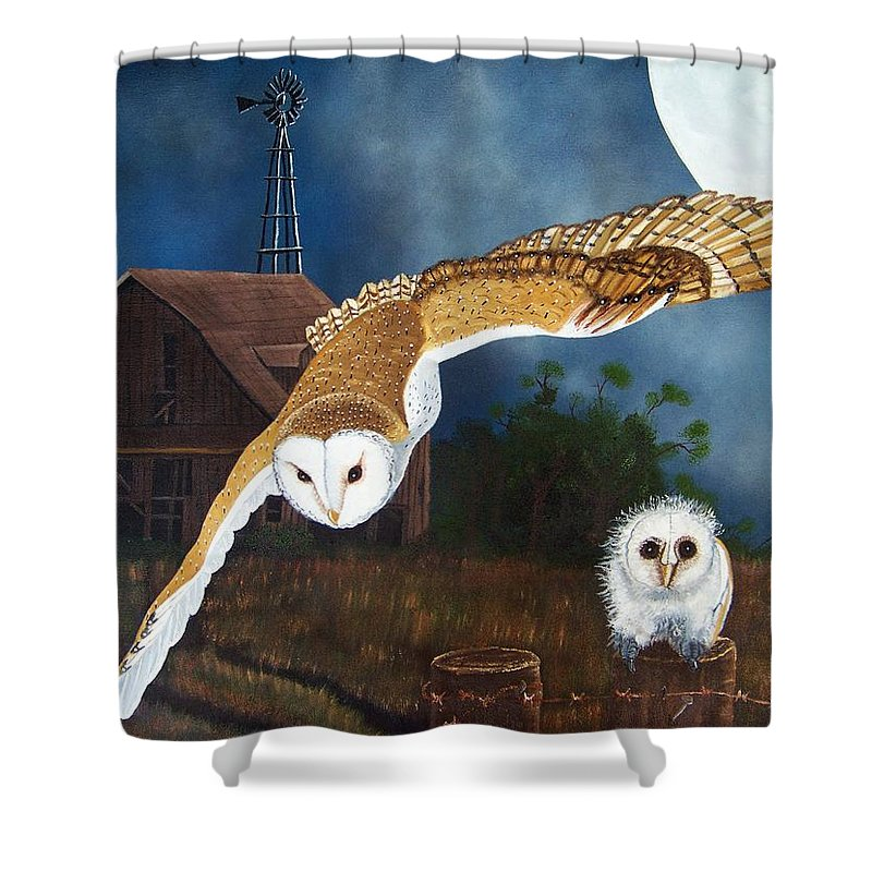 Owl Shower Curtain featuring the painting Moonlit Flight by Debbie LaFrance