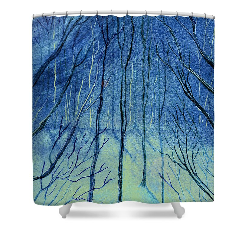Watercolor Shower Curtain featuring the painting Moonlit In Blue by Brenda Owen