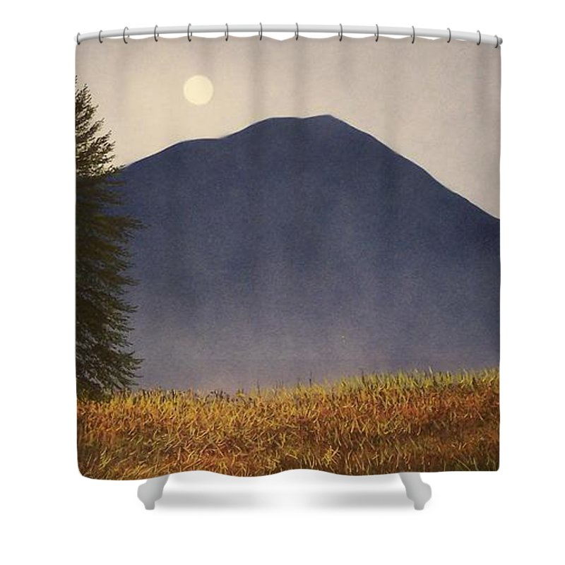 Mountains Shower Curtain featuring the painting Moonlit Mountain Meadow by Frank Wilson