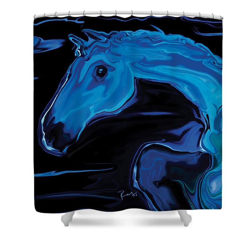 Animal Shower Curtain featuring the digital art Moonlit Run by Rabi Khan