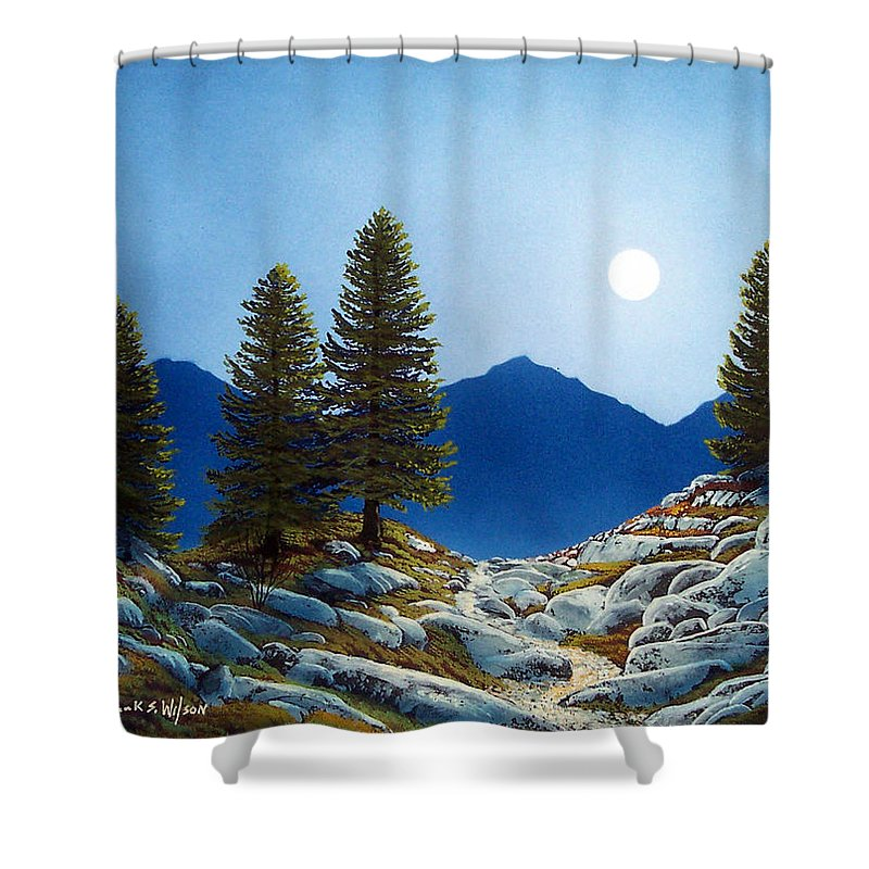 Landscape Shower Curtain featuring the painting Moonlit Trail by Frank Wilson
