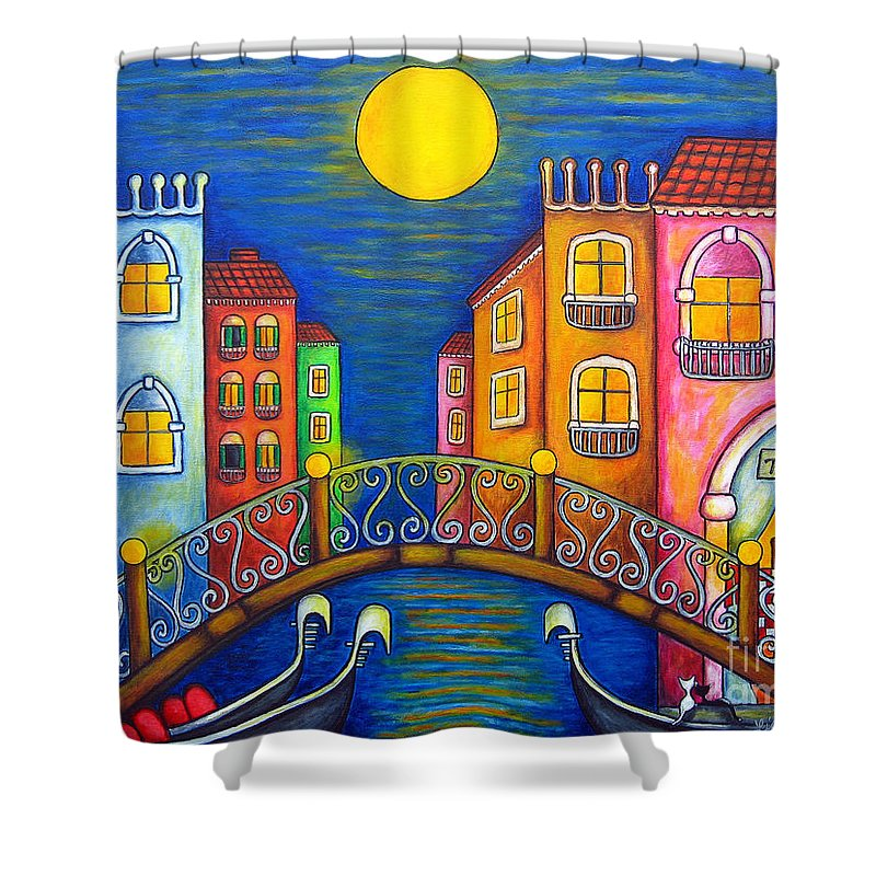 Venice Shower Curtain featuring the painting Moonlit Venice by Lisa Lorenz