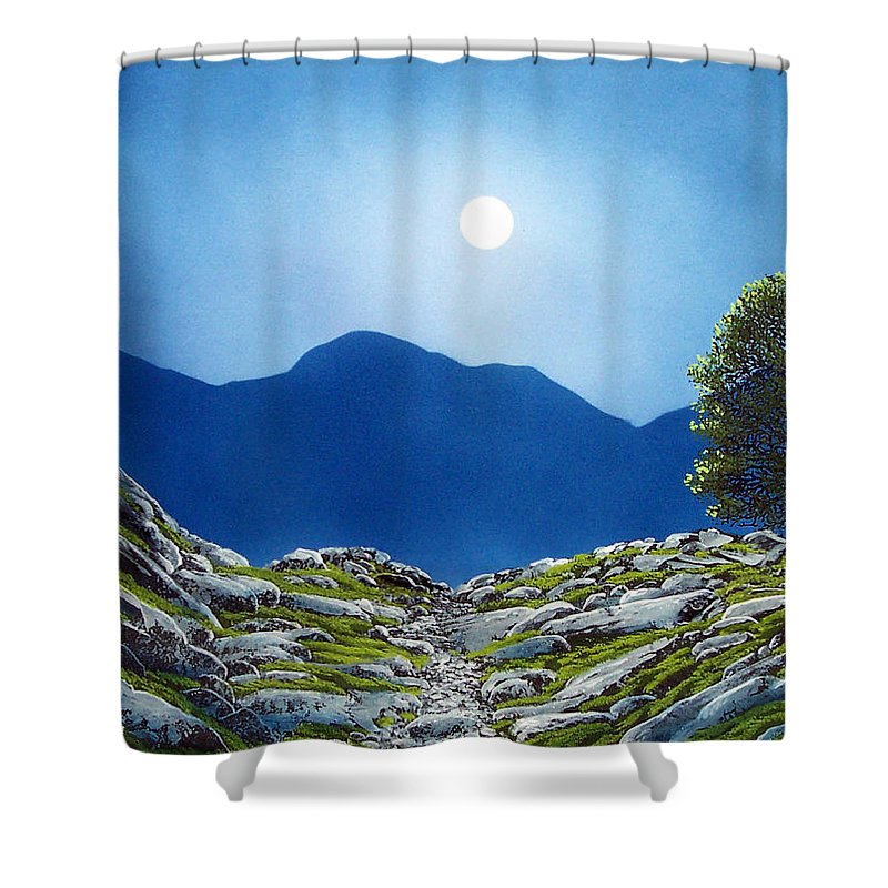 Landscape Shower Curtain featuring the painting Moonrise by Frank Wilson