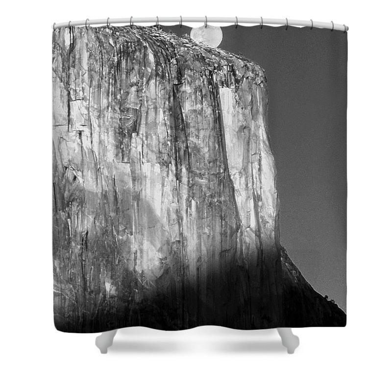 Moon Shower Curtain featuring the photograph M-m6506-e-bw-moonrise Over El Capitan At Sunset by Ed Cooper Photography