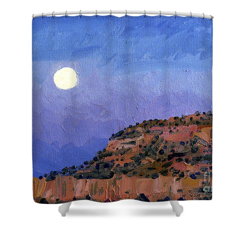 Moonrise Shower Curtain featuring the painting Moonrise Over Gallup by Donald Maier