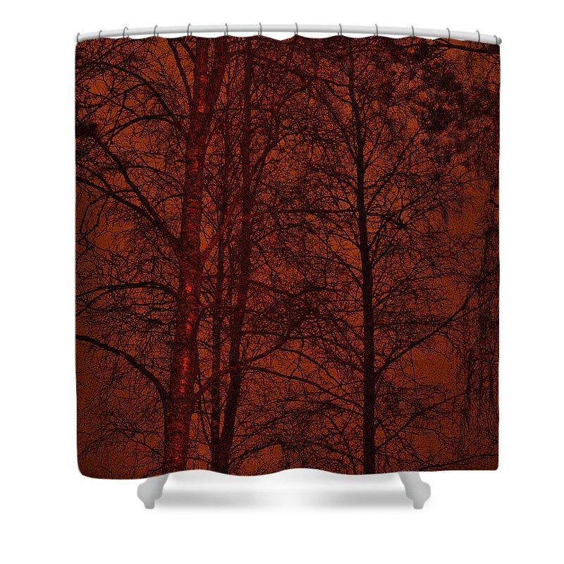 Lehtokukka Shower Curtain featuring the photograph Moonshine 11 Red Sky by Jouko Lehto