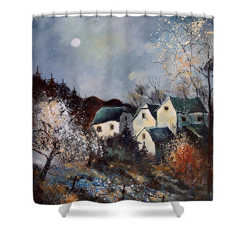 Village Shower Curtain featuring the painting Moonshine by Pol Ledent