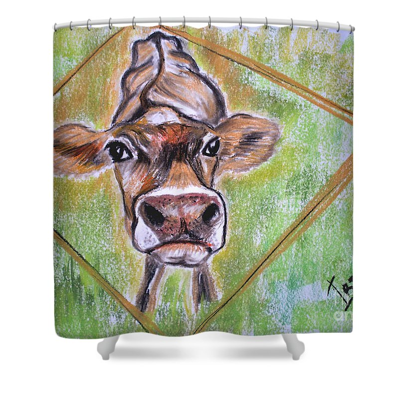 Animals Shower Curtain featuring the drawing Moooo by Irisha Golovnina