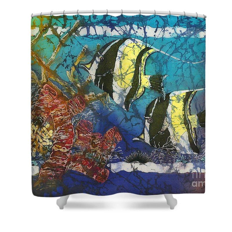 Moorish Idols Shower Curtain featuring the painting Moorish Idols by Sue Duda