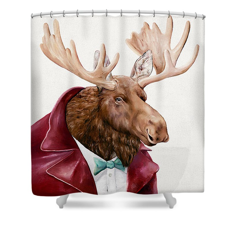Whimsical Moose Shower Curtains | Fine Art America