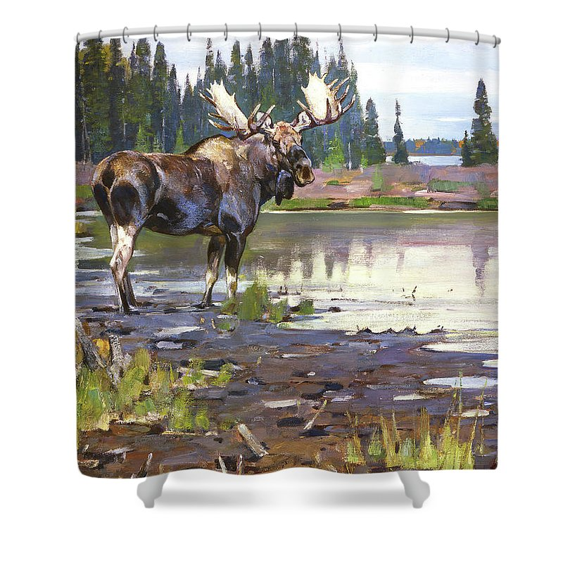Moose Shower Curtain Featuring The Painting By Rungius Carl