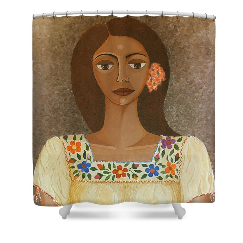 Oil Shower Curtain featuring the painting More Than Flowers She Sold Illusions by Madalena Lobao-Tello