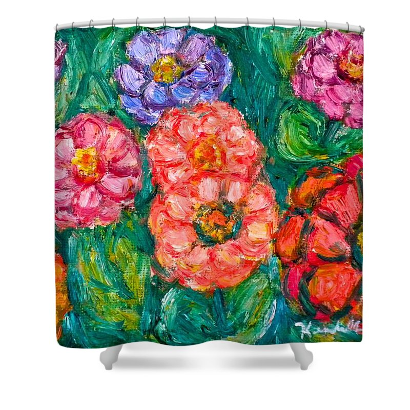 Flowers Shower Curtain featuring the painting More Zinnias by Kendall Kessler