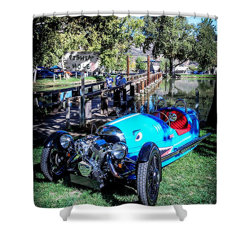 2015 Shower Curtain featuring the photograph Morgan At The Lake by Customikes Fun Photography and Film Aka K Mikael Wallin
