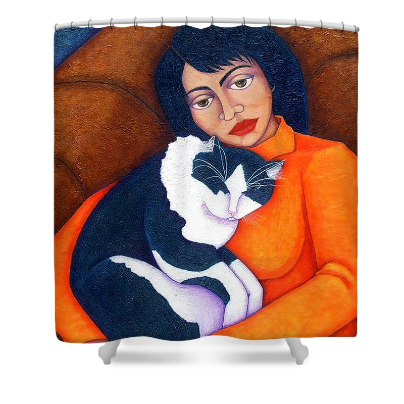 Woman Shower Curtain featuring the painting Morgana With Woman by Madalena Lobao-Tello