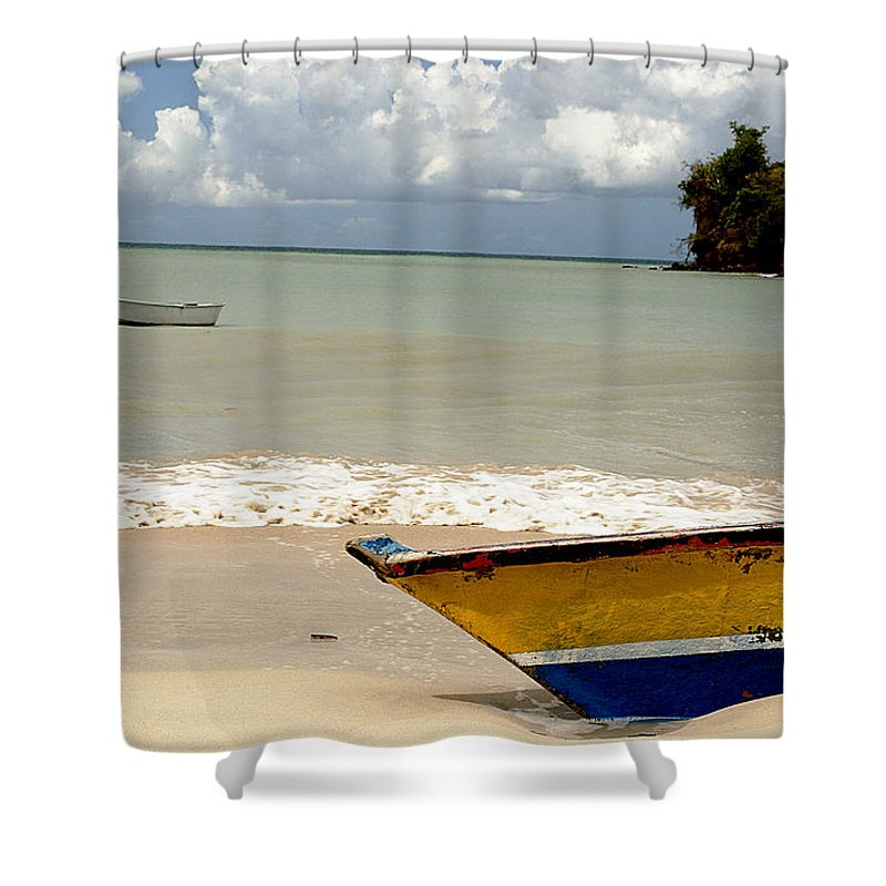 Boat Shower Curtain featuring the photograph Morne Rouge Boats by Jean Macaluso