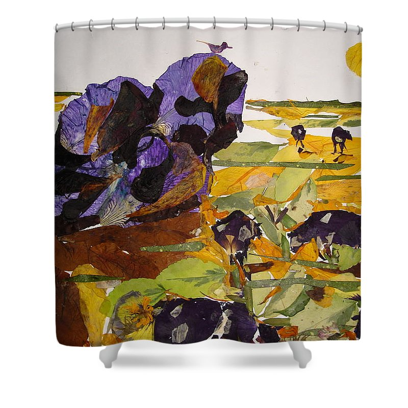 Glory Of Morning Shower Curtain featuring the mixed media Morning Activities by Basant Soni