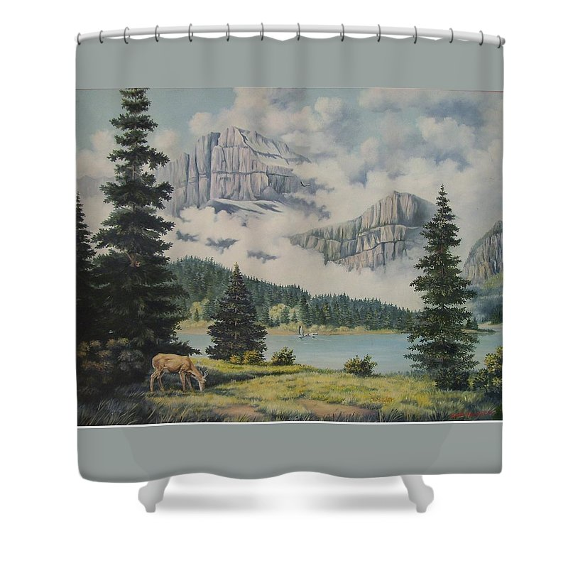 Glacier Nat. Park Shower Curtain featuring the painting Morning At The Glacier by Wanda Dansereau