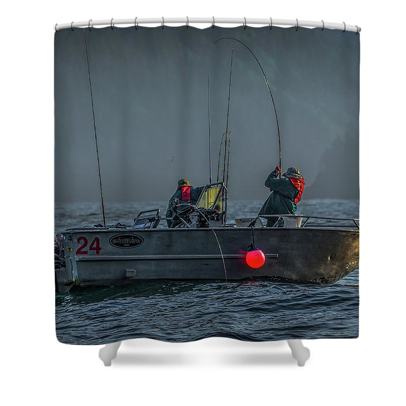 Fishing Shower Curtain featuring the photograph Morning Catch by Jason Brooks