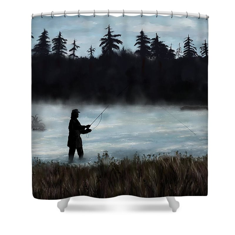 Painting Shower Curtain featuring the painting Morning Catch by Susan Kinney