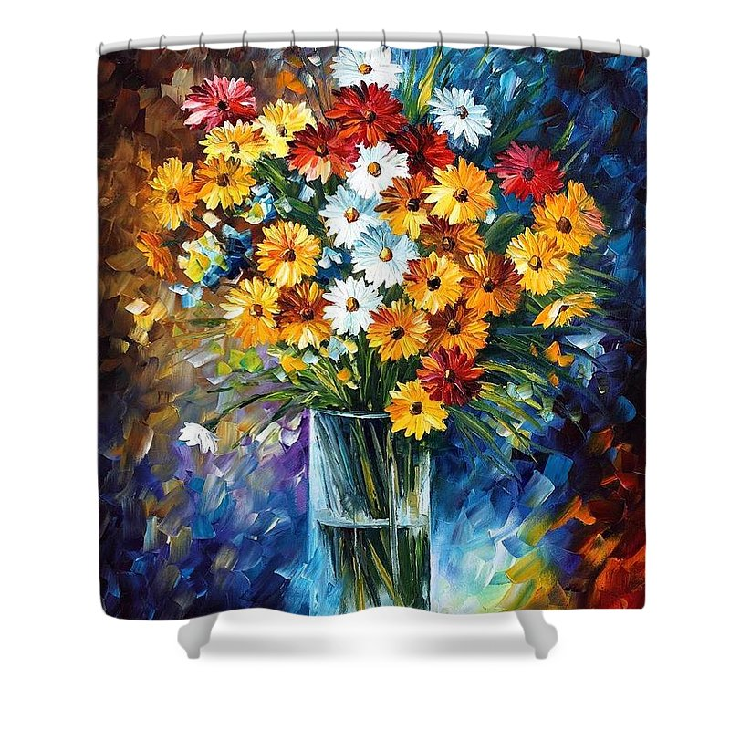 Afremov Shower Curtain featuring the painting Morning Charm by Leonid Afremov