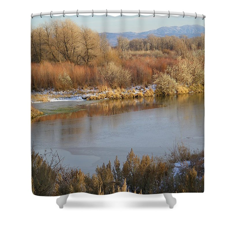River Shower Curtain featuring the photograph Morning Chill by Gale Cochran-Smith