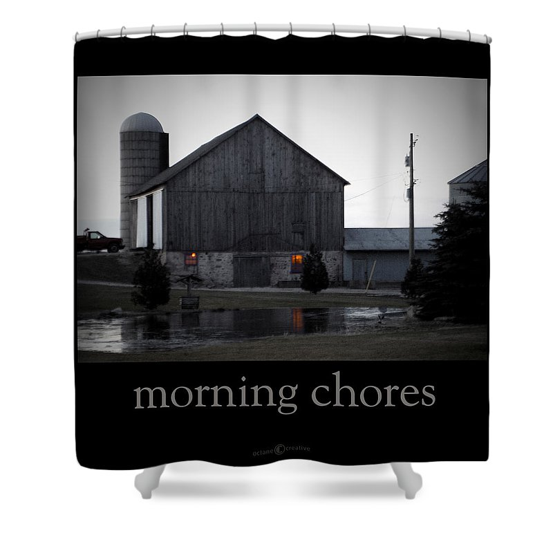 Poster Shower Curtain featuring the photograph Morning Chores by Tim Nyberg