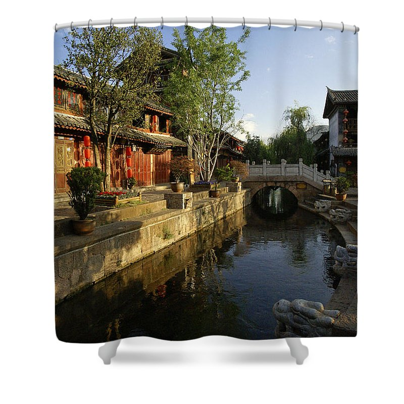 Asia Shower Curtain featuring the photograph Morning Comes To Lijiang Ancient Town by Michele Burgess
