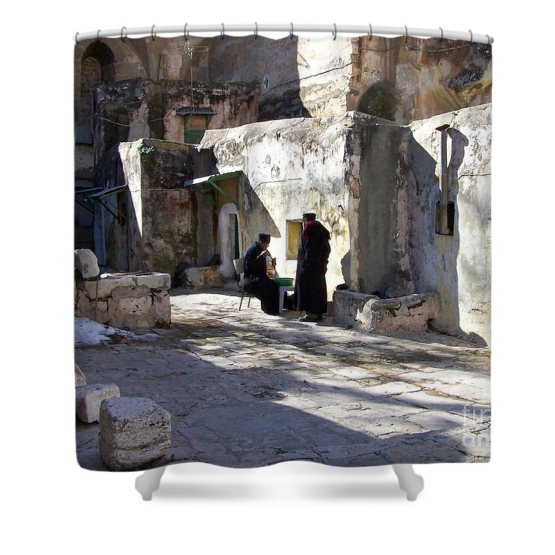 Jerusalem Shower Curtain featuring the photograph Morning Conversation by Kathy McClure