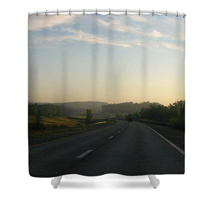 Landscape Shower Curtain featuring the photograph Morning Drive by Rhonda Barrett